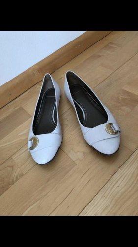 Versace Collection Ballerina di pelle verniciata bianco