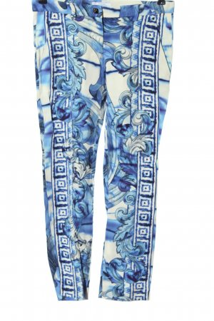 Versace Collection Jersey Pants blue-white allover print casual look