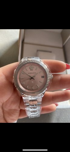Versace Watch With Metal Strap rose-gold-coloured-silver-colored