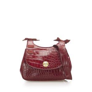 Versace Embossed Leather Shoulder Bag