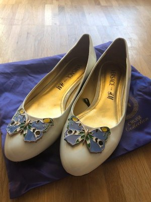 Versace for H&M Patent Leather Ballerinas white-azure