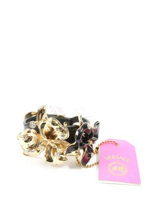 Versace for H&M Lederen armband zwart-goud elegant