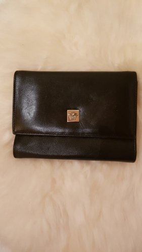 Versace Geldbörse Leder schwarz 14x11
