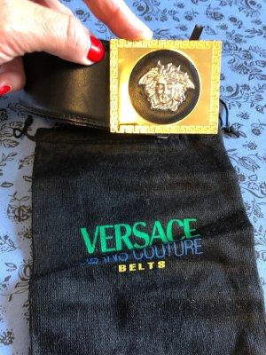 Versace Leather Belt black-gold-colored