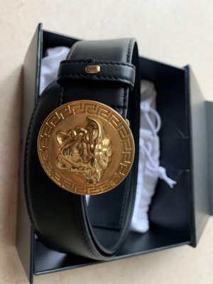 Versace Leather Belt black-gold-colored leather
