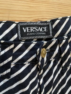 Versace Hoge taille broek wit-donkerblauw