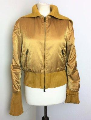* VERSACE JEANS COUTURE * Blouson / Bomber JACKE gelb leicht wattiert großer Strick KRAGEN Wolle