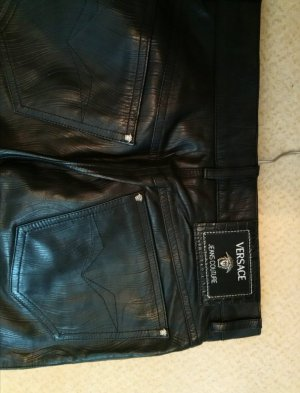 Versace Jeans Couture Pantalone in pelle nero Pelle