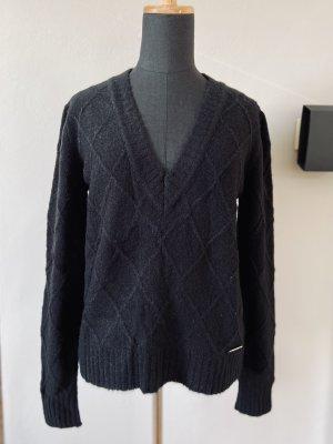 Versace Jeans Couture Pullover Strickpullover schwarz mit V Ausschnitt