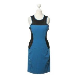 Versace Jeans Eyecatcher Party Kleid stretchig Blau mit Mesh Einsatz in Schwarz