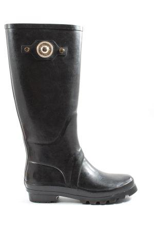 Versace Jeans Botte en caoutchouc noir style décontracté