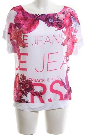 Versace Jeans Kurzarm-Bluse weiß Motivdruck Business-Look