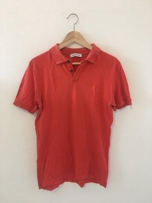 Versace Koralle orange fein dünn boyfriend lässig gerade weit Designer Marke hochwertig Shirt Oberteil Top Halbarm m Medium