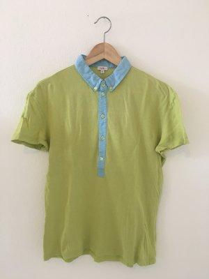 Versace l large 40 Polokragen Polo Shirt Halbarm Oberteil Top hellgrün limette Kiwi hellblau Designer hochwertig Marke Sommer