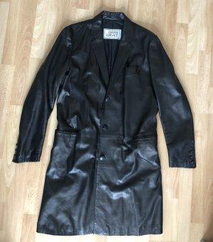 Gianni Versace Manteau en cuir noir