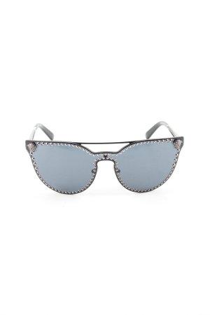 Versace Lunettes de soleil ovales bleu-noir style mouillé