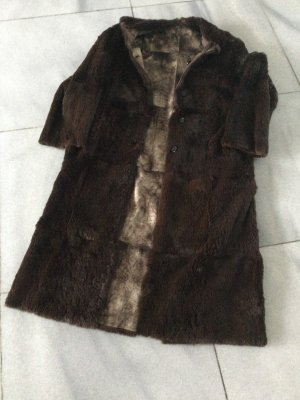versace classic Manteau de fourrure brun foncé