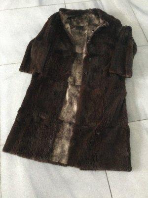 versace classic Abrigo de piel marrón oscuro