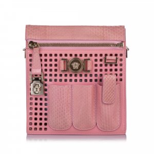 Versace Perforated Patent Leather Crossbody Bag