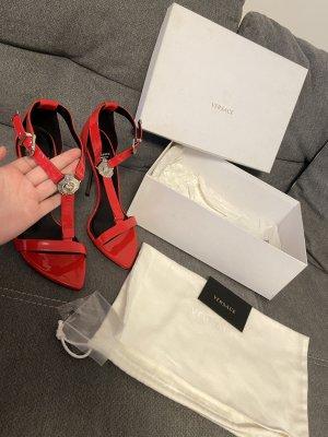 Versace Sandaletten High Heels Heeled Sandals Rot Silber Gr. 40
