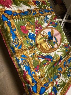 Versace Pañuelo de seda azul-verde