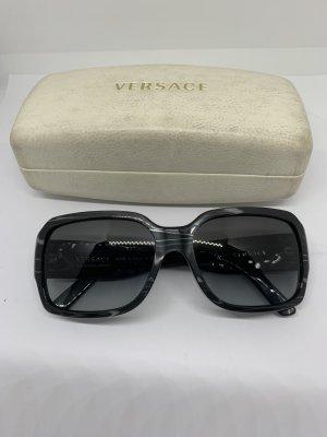 Versace Occhiale da sole spigoloso nero-argento