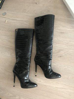 Versace Stiefel Lackleder schwarz Absatz heels 37,5 Schlange spitz sexy