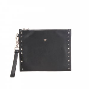 Versace Studded Medusa Leather Clutch Bag
