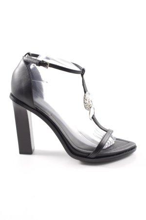 Versace Zapatos de tacón con barra en T negro elegante