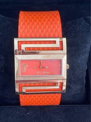 Versace Montre avec bracelet en cuir orange-doré