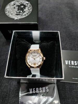 VERSUS Versace Reloj con pulsera de cuero blanco-color oro