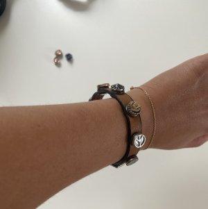 Bracelet en cuir marron clair-bleu clair