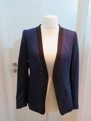 Verschlussloser  Blazer Blau mit schwarzem Besatz Zara L
