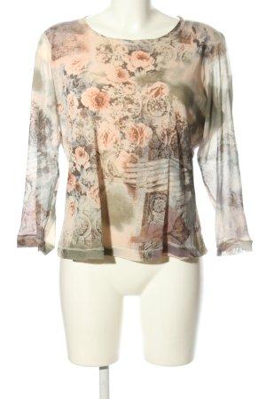 Verse Schlupf-Bluse khaki-creme Blumenmuster Casual-Look