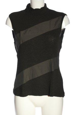 Verse Strickshirt schwarz-khaki Casual-Look