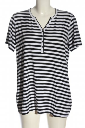 Verse V-Neck Shirt white-black striped pattern casual look