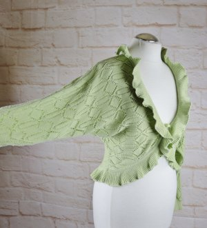 Just Woman Knitted Bolero pale green-lime-green cotton