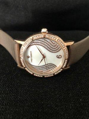 Yves Camani Zegarek ze skórzanym paskiem brązowy-w kolorze różowego złota