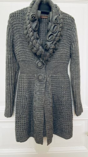Coarse Knitted Jacket grey-silver-colored
