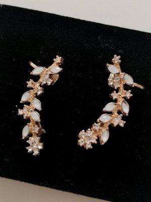 Clou d'oreille doré-blanc