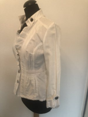 Verspielte taillierte weiße Jeansjacke Gr.36