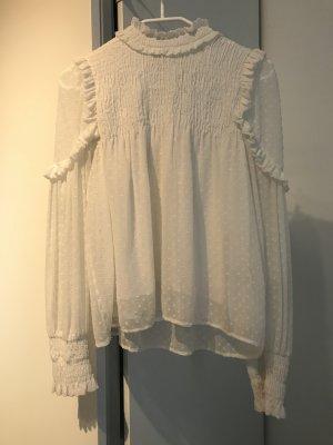 Zara Trafaluc Ruche blouse licht beige-wit
