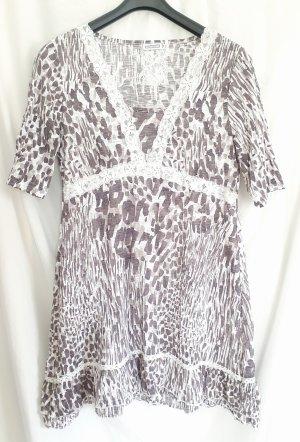 Verspieltes Kleid im Tunika-Stil von Street One im All-Over-Muster weiß-taupe aus bequemem und leichtem Stretchmaterial in Größe 38