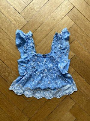 Zara Cropped top azuur-wit