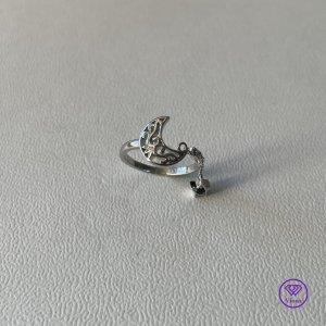 ♈️ Verstellbarer 925 Sterling Silber Ring, Mond & Stern, gestempelt, Neu