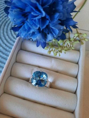 Swarovski Elements Pierścionek z ozdobnym kamieniem srebrny-jasnoniebieski