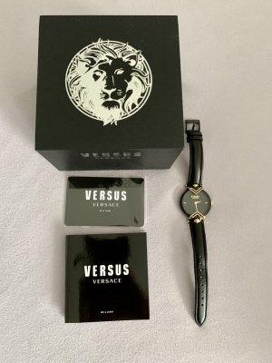 VERSUS Versace Zegarek ze skórzanym paskiem czarny
