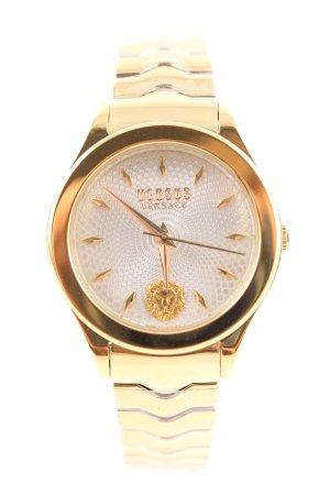 VERSUS Versace Uhr mit Metallband goldfarben-weiß Motivdruck Business-Look