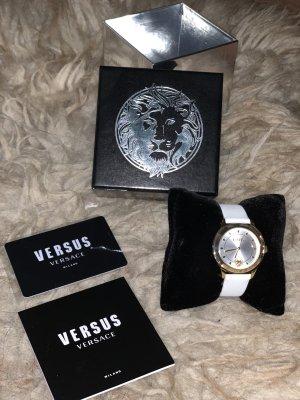 VERSUS Versace Horloge met lederen riempje wit-oker