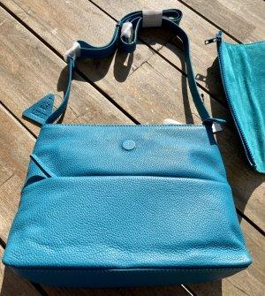 verwandelbare Echt Leder Tasche türkis blau Sommer Farbe NEU echt Leder Umhängetasche verwandelbar der Umschlag ist abnehmbar (mit Reißverschluss) Material: 100% Echtleder Maße: ca. 26 x 21 x 9 cm